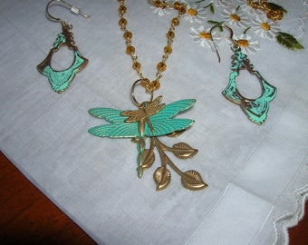 Dragonflies and leaves pendant and matching earrings