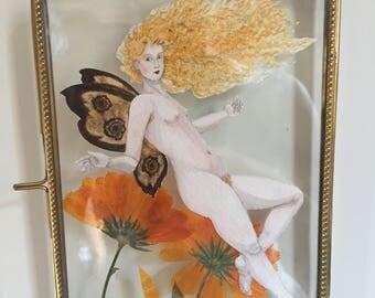 Fairy With Pressed Marigolds, Original Art
