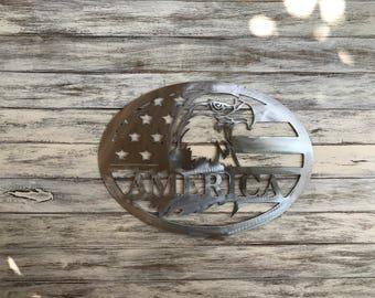 American Eagle metal sign, Wall decor, USA, US Flag