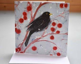 Blackbirds on Crabapple Card Card - blackbird card, bird card, bird greeting card, bird birthday card, blank inside card, bird thankyou card