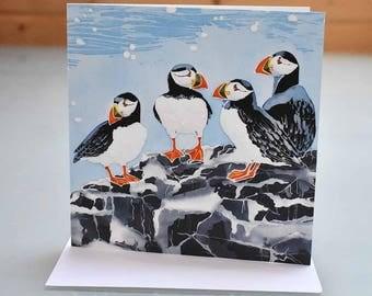 Farne Island Puffins Card - bird card, bird greeting card, puffin birthday card, twitcher card, blank inside card, puffin greeting card