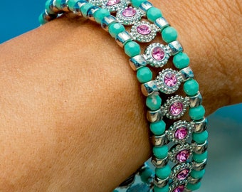 Teal and Rose Rhinestone Beaded Bracelet