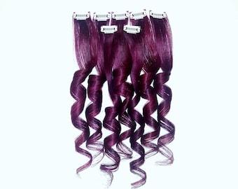 PLUM BURGUNDY WINE Galaxy Oil Slick Clip In Hair Extensions, Ombre Mermaid Hair, Human Hair Extensions, Hair Weave, Remy Hair, Unicorn Hair