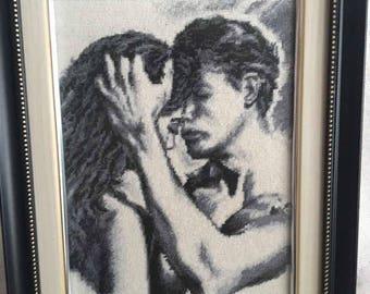 Handmade framed needlepoint Tenderness