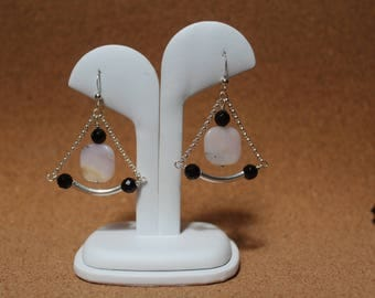 Pink opal, black onyx and sterling silver earrings