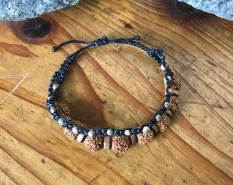 Bodhi Seeds and Wood Macrame Bracelet