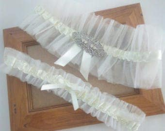 Wedding Garter, Bridal Garter Set, Wedding Garter Set, Art Deco Garter Set, Ivory Bridal Garter Set Ivory Tulle Garter