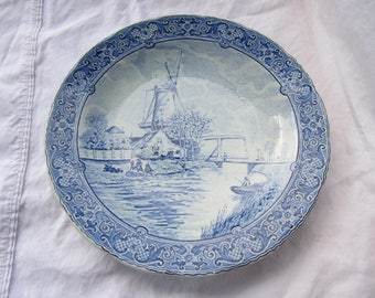 """Vintage Royal Sphinx by Boch Delft Plate / Large Platter / Dish / Charger / Wall Plaque / 12"""" / Blue & White / Delft"""
