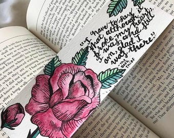 Personalized Hand-Painted Watercolor Rose Bookmark
