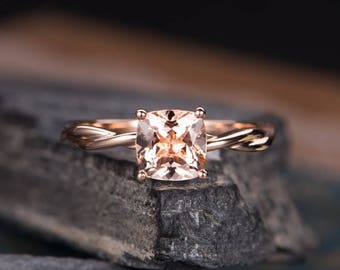 Cushion Cut Morganite Ring Rose Gold Engagement Ring Solitaire Plain Infinity Band Promise Ring Bridal Wedding Anniversary Women