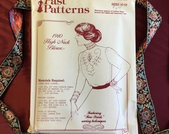 Vintage 1910s High Neck Blouse Pattern (Uncut)