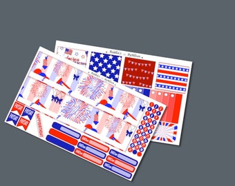 "July 2018 Monthly Planner Sticker Kit ""USA"": Made to fit Erin Condren Life Planner"