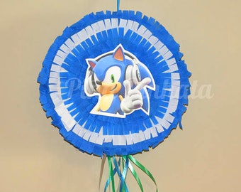 Sonic Blue Pinata|  Sonic Pinata | Boy Pinata | Party Supplies| Birthday Décor| Sonic supplies| Paper Party supplies | Handmade|