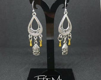 Zen Buddha gold and silver chandelier earrings!