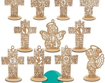 Cruz madera mdf con oración recuerdo, bautizo, primea comunión, fiesta