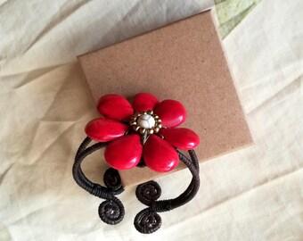 A red flower stone bracelets - boho bracelet - bohemian bracelet