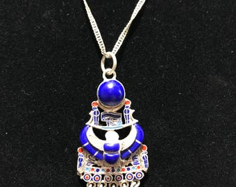 Egyptian Winged Sun Silver Necklace