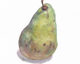 Original botanical watercolor / Small picture / Pear on white background / Home decor / Wall art decor / Green pear / Small painting