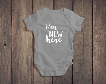 I'm New Here Baby Onesie // Coming Home Outfit Onesie // Baby Bodysuit // Baby Clothes // Baby Clothing // Baby Gift // Baby Shower Gift