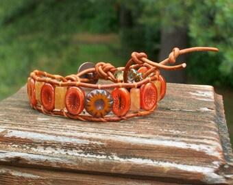 Orange Carrot Cake Oval Wrap Bracelet