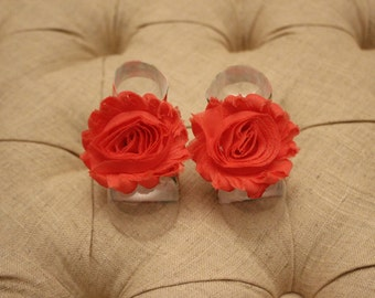 baby shoes, baby girl, girl shoes, baby sandals, red flower, The Camilla Petals