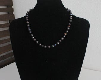 Knotted Purple Freshwater Pearl and Crystal Necklace