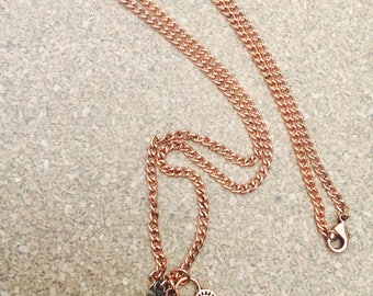 Copper Rose, Lock and Key necklace