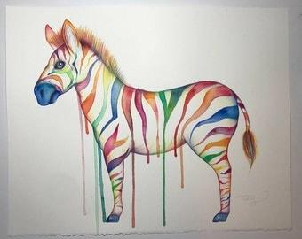 Rainbow Zebra Original Artwork - Watercolour and Pencil