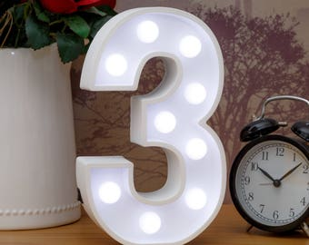 "Light Up Number 3 (Three) - 23cm (9"") high sign, Illuminated White Wooden Marquee Letters with LED Lights Wall Hanging or Freestanding"