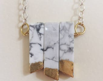Marbled Stone & Gold Leaf Necklace