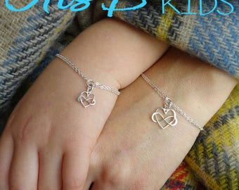 Heart Infinity matching bracelets, mother daughter set, big and little gift, mother daughter jewelry, mother and child jewelry, Otis B