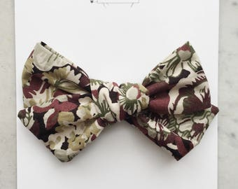 Specialty Bow- Liberty of London Fabric Chive Bow for Babies Toddlers Girls