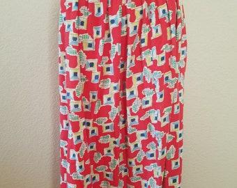 Red Vintage Midi Length Skirt