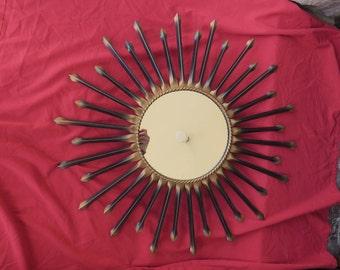 ancien et grand modèle, miroir soleil en métal fabriqué sous les années 50 par Chaty Vallauris, old metal sun mirror made under the 50s