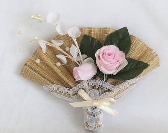 Avon Pink Roses Floral Fan Pin, Boho Corsage Pin, Rattan, Wicker, Lace, Brooch, Vintage, 1990s, NIB