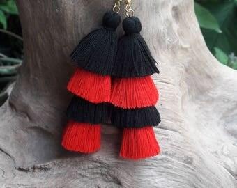 Black&Red Tassel Earrings,Black earrings,Red earrings,Hand made earrings,Chandelier earrings.