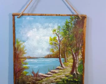 """Painting on wood called """"River Pathways"""", river, lake stream, original acrylic, trees, rocks, water,blue sky, one of a kind"""