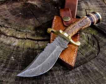 "8"" Inch Custom Hand Made Forged damascus steel hunting bowie knife deer antler handle with leather sheath groomsmen gift"