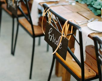 Bride and Groom Chair Signs | Mr. and Mrs. Chair Signs | Wooden Bride and Groom Signs | Reception Chair Signs | Bridal Wood Signs