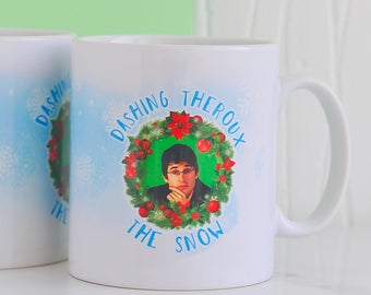Louis Theroux Christmas Mug - Dashing Theroux The Snow | Funny Theroux Mugs | Secret Santa | RudeyDudey