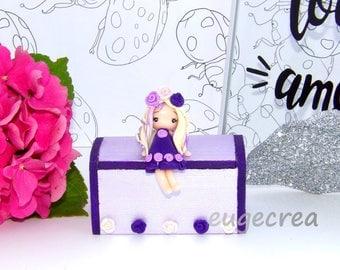Purple girl box flower purple polymer clay