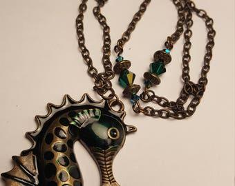Enamel finished Seahorse pendant necklace set