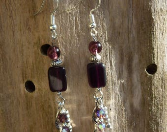 Silver metal charms and deep purple glass beads earrings