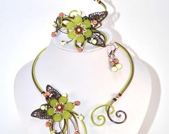 Lime green and Brown aluminum set: wedding party (n5)