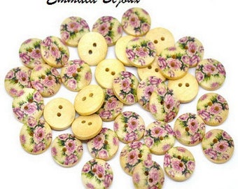 12 buttons 15 mm wooden flowers
