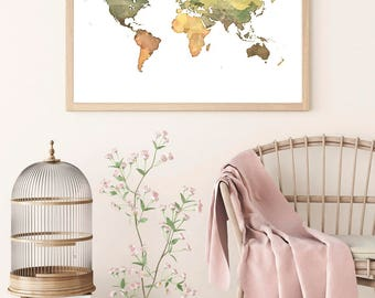 WORLD MAP DOWNLOAD World Map Wall Art Color Print Printable