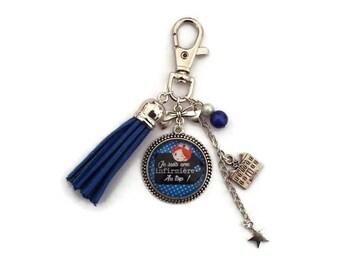 "Keychain / bag charm gift nurse ""I'm a nurse at the top"" with glass cabochon - Keychain blue tassel"