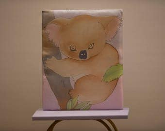 Hand-painted silk little picture for chidren or baby : 'The soft little sloth""