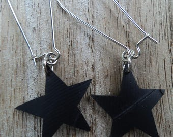 Hook earrings - dangle stars in inner inner and chandelier earrings - fancy earrings - earrings bicycle inner tube