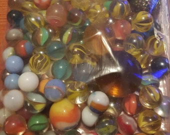 Lot of 105 vintage marbles, antique marbles, vintage games, collectible marbles, marble collection, glass marbles, hand made marbles